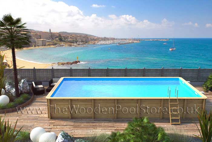 Odyssea Rectangle 8m X 4m Above Ground Wooden Swimming