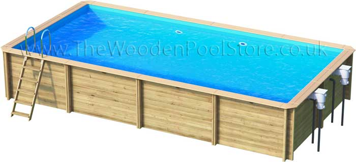 Odyssea Rectangle 6m x 3m wooden pools above or in ground