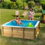 Pistoche 2m x 2m Wooden Pool with Built In Safety Cover and Filter